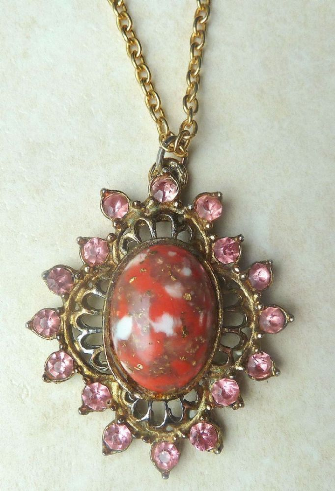 Vintage Pink Rhinestone And Red Stone Pendant And Necklace